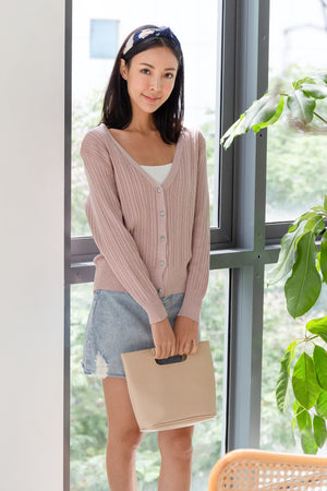 Yanet Ribbed Knit Cardigan In Dusty Pink