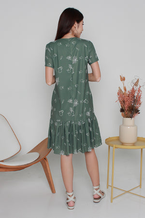 Myaree Sketches Dropwaist Dress In Olive