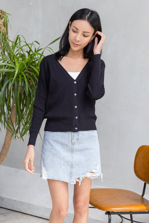 Yanet Ribbed Knit Cardigan In Black