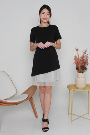 *TSA Label* Pauletta Tulle Hem Dress In Black