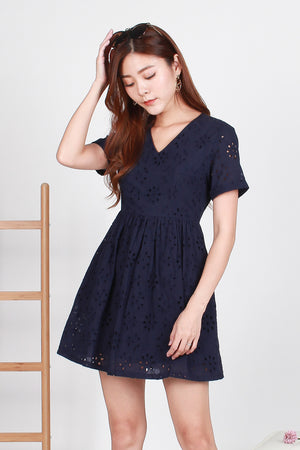 Parisian Eyelet Dress In Navy