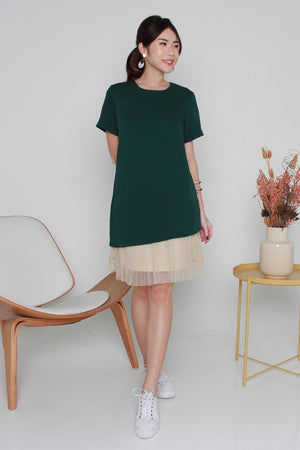 *TSA Label* Pauletta Tulle Hem Dress In Forest