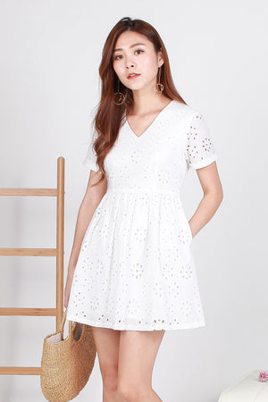 Parisian Eyelet Dress In White