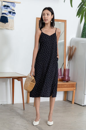 *TSA Label* Perri Polkadot Slip Dress In Black