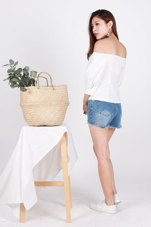 *Premium* Taliyah Linen Off Shoulder Top In Off White