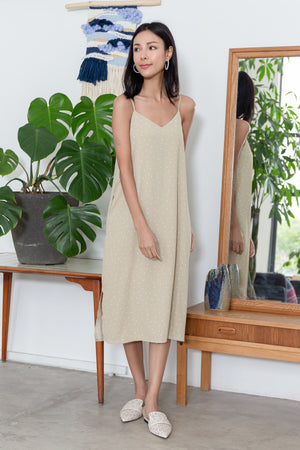 *TSA Label* Perri Polkadot Slip Dress In Latte