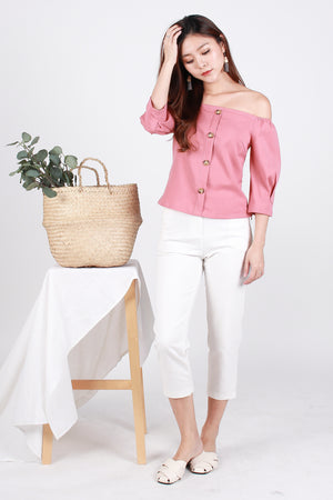 *Premium* Taliyah Linen Off Shoulder Top In Dusty Rose