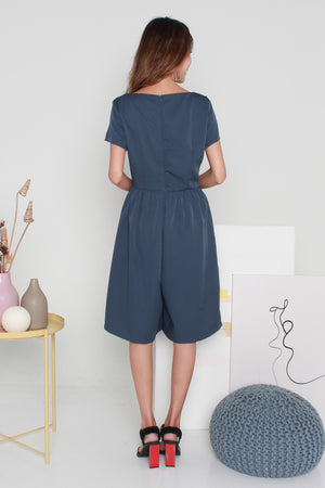 *TSA Label* Hariett Boat Neck Romper In Dusk Blue