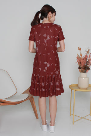 Myaree Sketches Dropwaist Dress In Wine