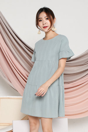 Pollen Flutter Sleeve Dress In Mint