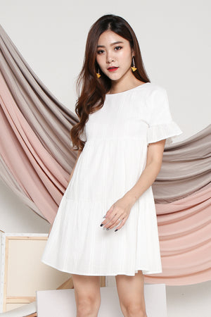 Pollen Flutter Sleeve Dress In White