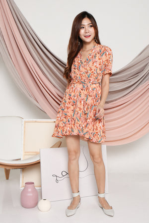 Lilias Floral Skater Dress In Apricot