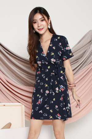 Delphine Floral Dress In Navy