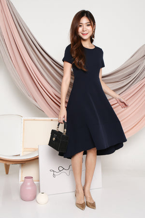 Lucinda Curve Hem Dress In Navy
