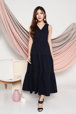 Acacia Tiered Maxi Dress In Navy