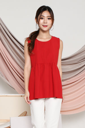 Makayla Babydoll Top In Red