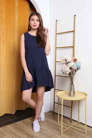Elyse Hi-Lo Tiered Dress In Navy
