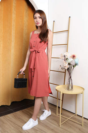 *TSA Label* Luna Faux Button Midi Dress In Tea Rose