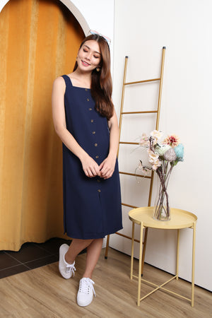 *TSA Label* Luna Faux Button Midi Dress In Navy