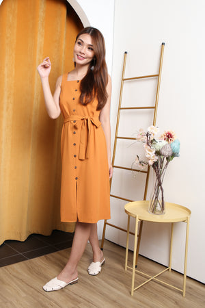 *TSA Label* Luna Faux Button Midi Dress In Mustard