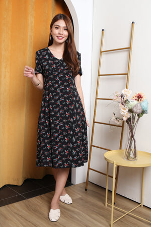Katlyn Floral Button Midi Dress In Black