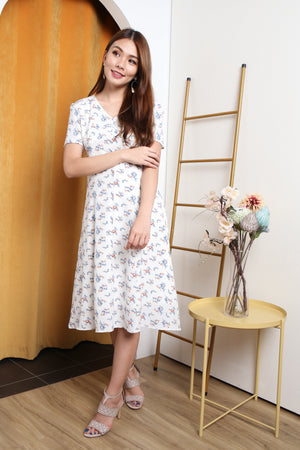 Katlyn Floral Button Midi Dress In White