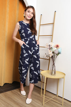 Nordic Printed Jumpsuit In Navy