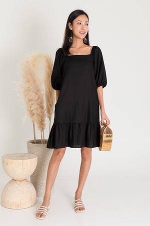 *RESTOCK* Roslynn Square Neck Puffy Sleeve Dress In Black