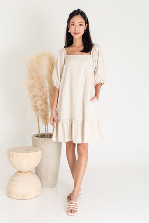 *RESTOCK* Roslynn Square Neck Puffy Sleeve Dress In Ecru