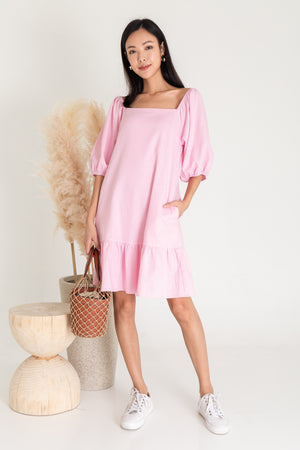 *RESTOCK* Roslynn Square Neck Puffy Sleeve Dress In Pink
