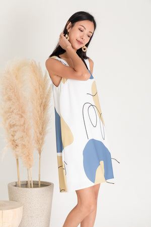 Trixie Doodle Abstract Dress In Blue