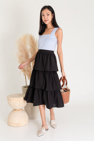Zenith Tier Midi Skirt In Black