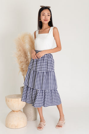 Zenith Tier Midi Skirt In Navy Gingham