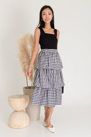 Zenith Tier Midi Skirt In Black Gingham