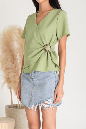 Reyla Buckle Sleeved Top In Sage