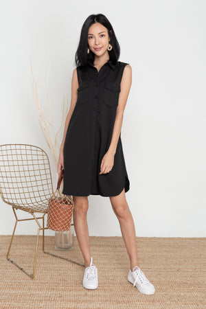 Noelia Button Shirt Dress In Black