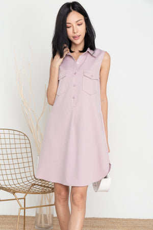 Noelia Button Shirt Dress In Lilac