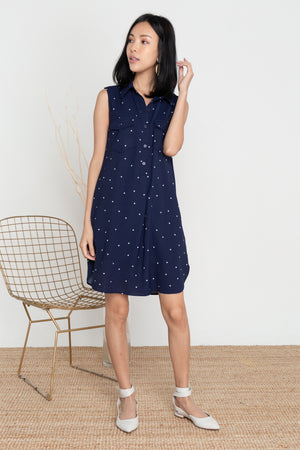 Noelia Dots Button Shirt Dress In Navy