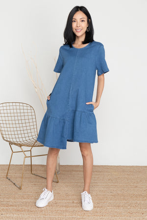 *BACKORDER* Shaya Denim Step Hem Dress In Dark Wash