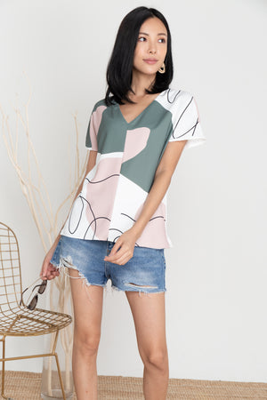 *TSA Label* Terra Doodle Abstract Top In Olive