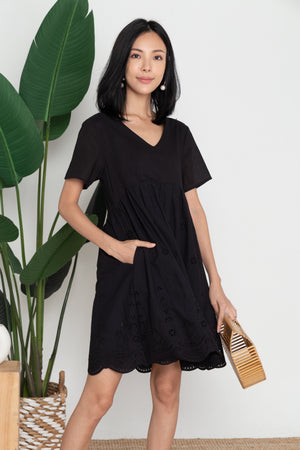 *TSA Label* Thalia Eyelet Dress In Black