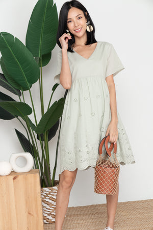 *TSA Label* Thalia Eyelet Dress In Tea Green