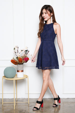 Bethania Ruch-Front Skater Dress In Navy
