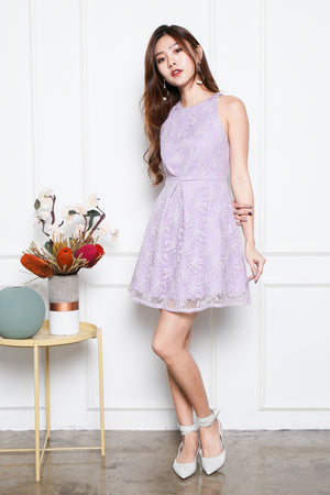 Bethania Ruch-Front Skater Dress In Lilac