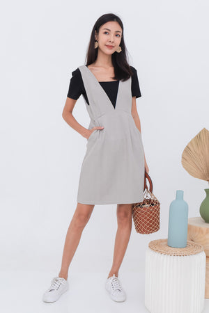 Josie Pinafore Dress In French Grey