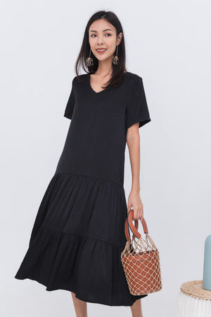 Kadeen Tiered Dress In Black