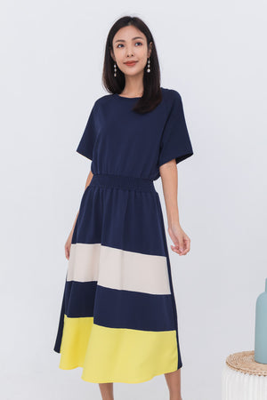 Alina Colourblock Hem Dress In Navy