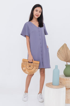 Isador Flutter Sleeves Dress In Ash Lilac