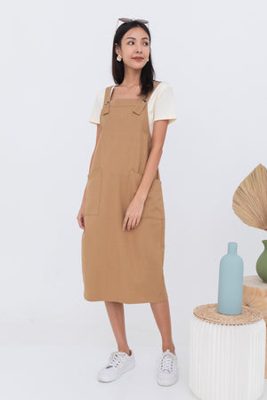 Brandi Dungaree Midi In Saddle