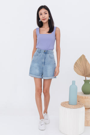 Naomi Basic Ribbed Top In Lilac